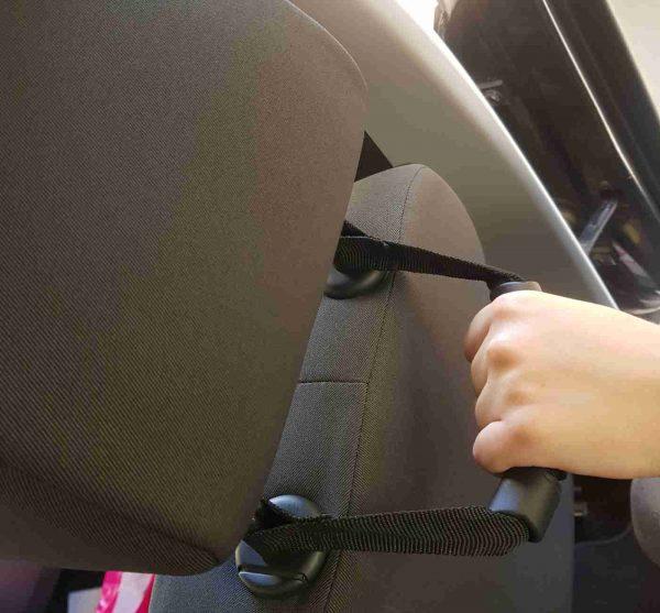 ידית אחיזה לכניסה ויציאה מהרכב למשענת ראש רצועה על המשענת עם אחיזה מלמעלה